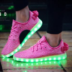 Unisex 7 LED Light Lace Up Luminous Shoes Sneaker Sportswear USB Rechargeable