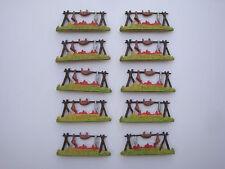 Lot 10 Figurines anciennes Starlux Far west feu de camp pr indien cow boy scout