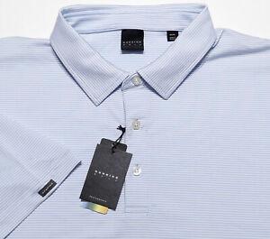 DUNNING GOLF Short Sleeve Performance Polo Shirt Blue Striped 3XL ~ New