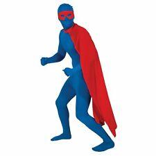 Superhero Cape Long Superman Rescue Comic Adults Mens Fancy Dress Costume