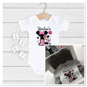 💕 personalised girls 1st birthday vest cake smash one today minnie mouse Outfit