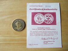 Christopher Columbus Double Eagle Medal, Gold/Silver National Historic Mint, COA