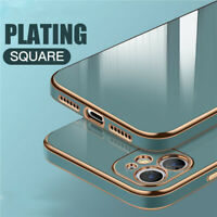 For iPhone 12 Pro Max 11 XS XR X 8 7 SE Plating Silicone Glossy Thin Case Cover