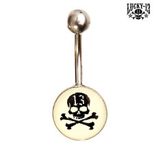 LUCKY 13 Bauchnabel Piercing Schädel - Rockabilly Nabel Piercing Navel Belly NEU