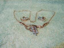 Vintage SORRENTO STERLING Blue Topaz Filigree Necklace & Screwback Earrings Set