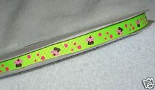"Neon Green Cupcake Printed Ribbon, 5y 3/8"" Grosgrain Korker Hairbows 9mm Sweets"