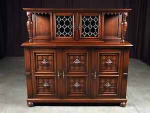 Antique French Henry II China Cabinet Oak Buffet Server