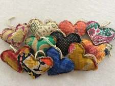 Set Of 50 Kantha Heart Pillow Valentines Ornaments Handmade Christmas Xmas Decor