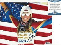 SKIER MIKAELA SHIFFRIN SIGNED SLALOM WORLD CHAMPION 8x10 PHOTO BECKETT COA BAS