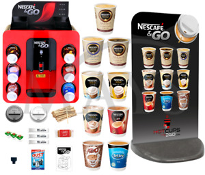 NESCAFE & AND 2GO COFFEE HOT DRINKS MACHINE 1400 PIECE PACKAGE + SIGN + EXPRESS