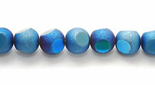 6 LARGE TEXTURED GLASS MIRROR / ASTEROID METALLIC BLUE ROUND FOCAL BEADS, 12 MM