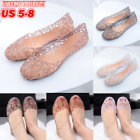 Women's Summer Casual Slip On Jelly Hollow Out Flat Heel Sandals Clip Toe Shoes