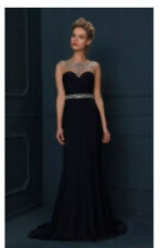 Gino Cerruti Long Midnight Blue Silver Beaded Prom Evening Gown Dress Size 12