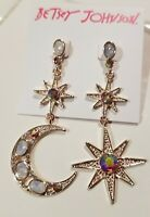 Betsey Johnson Moon Star Mismatch Dangle Rose gold Crystal rhinestones Earrings