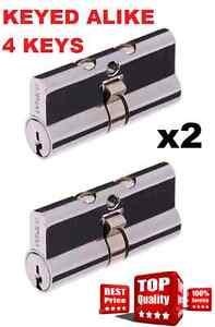 2 x Security Screen door cylinder Whitco 5 Pin Lock Barrel 4 Keys key alike