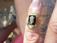 Antique 1935 GOLD over STERLING AND ONYX CLASS RING SIZE 5 1/8    4 GRAMS