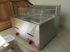 2x6,0L GAS-Frittöse Dopel Friteuse-Gasfritteuse Tischfritteuse Fritteuse-imbiss
