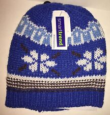 SMARTTREND ACCESSORIES Boys' Knit Winter Hat Blue/Brown/White Snowflake NEW Tags