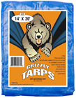 Grizzly Tarps 14 x 20 Feet. Multi Purpose Waterproof Poly Tarp Cover for Camping