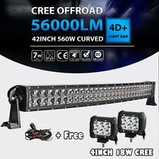 "42inch 560W Curved LED Light Bar+4"" 18W Offroad Fit For UTV Polaris RZR XP1K 30"""