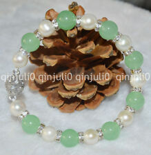 Natural 10mm Light Green Jade & 9-10mm Genuine White Cultured Pearl Bracelet J99