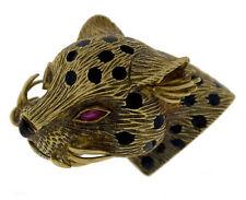 Corletto Ruby, Black Onyx, 18K Gold Leopard Brooch
