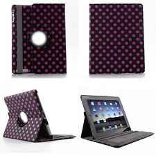 New iPad 2nd 4 4G Gen 3 3rd 360 Rotate Leather PU Case Cover Solid Dot Color