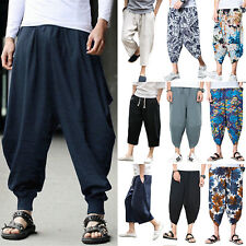 Elonglin Mens Harem Pants Wide Leg Flowy Drawstring Casual Cotton Baggy Hippie