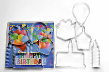 Happy Birthday Cookie Cutter Set - Cake, Cupcake, Candle, Gift, & Balloon - 1835