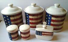 Warren Kimble Colonial Canisters Napkin Holder Salt Pepper Shakers Sakura 1997