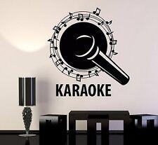 Vinyl Wall Decal Karaoke Club Microphone Singer Notes Song Stickers (1066ig)