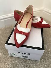 Nine West Red White Flat Low Heel Shoes UK Size 3 US Size 5W With Box Boxed