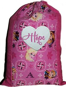 Kids Book Bag | Library Bag | Toy Bag | SML | Frozen Glitter  | 1st Name FREE