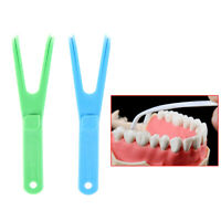 1X Blue durable Y shape dental floss holder dental care aid oral'pick teeth c_ws