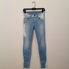 J Brand Jeans 25 Zepher Light Blue White Splatter Paint Skinny Straight Women's