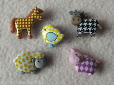 DRESS IT UP BUTTONS ~ FUNKY FARM ~ 5 ANIMALS ~ COW ~ SHEEP ~ PIG ~ PONY ~ CHICK