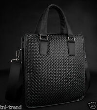 New 2015 Knitted Genuine Leather Men's Messenger Bag Shoulder Bag Tote Briefcase