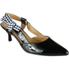 Womens Ladies Patent Elastic Strap Kitten Mid Heel Office Work Party Shoes Size