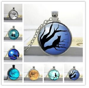 Cat Cabochon Pendant Necklace Black Cat Pagan Wiccan Witch Moon & Gift Bag