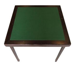 Ancienne Table de jeux Bridge Poker♦️♣️ ♥️ en Bois d'acajous Tapis vert