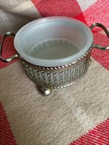 Glass Bowl with Silver Coloured  Metal Decorative Holder