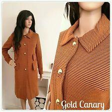 Vintage Años 60 Naranja marrón a rayas Militar Chaqueta de lana abrigo Mod 10 38