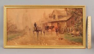 Antique FRANK ENGLISH Impressionist Horse-Drawn Wagon PA Watercolor Painting