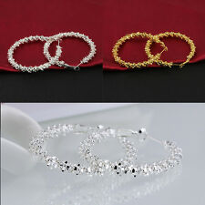 New Fashion Women Jewelry Silver Gold Alloy Stars Hoop Dangle Earring Makeup 4cm