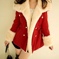 Women's Red Slim Jacket Coat Double-Breasted Thin Winter Trench Fur Parka S M L