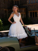 New Short White/Ivory Lace Bridal Gown Wedding Dresses Stock Size6 8 10 12 14 16