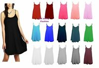 Womens Plain Cami Ladies Summer Swing Mini Dress Long Top Plus Size Vest 8-26.