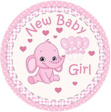 """New Baby Girl Pink Edible Icing, 7.5""""  Cake Topper"""