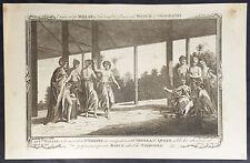 1782 Millar Antique Print of Capt. Samuel Wallis & Queen Purea of Tahiti Dancing