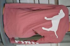 Victoria's Secret love pink tee t shirt long sleeve mauve dog logo white small S